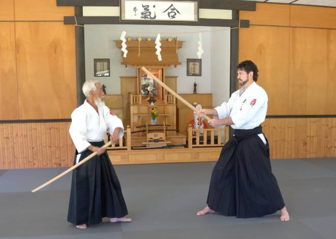 Saotome Sensei and Sensei Guy Hagen at the Aiki Shrine